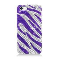 Insten Purple/ Silver Zebra Hard Snap-on Diamond Bling Case Cover For Apple iPhone 5C