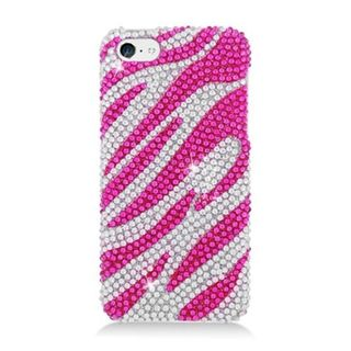 Insten Hot Pink/ Silver Zebra Hard Snap-on Rhinestone Bling Case Cover For Apple iPhone 5C