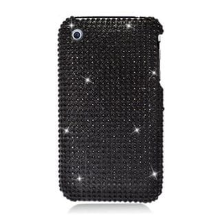 Insten Black Hard Snap-on Diamond Bling Case Cover For Apple iPhone 3G/ 3GS