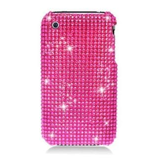 Insten Hot Pink Hard Snap-on Diamond Bling Case Cover For Apple iPhone 3G/ 3GS