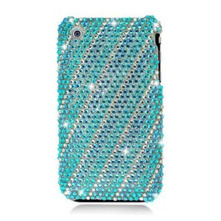 Insten Blue/ Silver Lines Hard Snap-on Rhinestone Bling Case Cover For Apple iPhone 3G/ 3GS