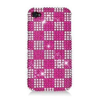 Insten Hot Pink/ White Checker Hard Snap-on Rhinestone Bling Case Cover For Apple iPhone 4/ 4S