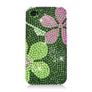Insten Green Flowers Hard Snap-on Diamond Bling Case Cover For Apple iPhone 4/ 4S