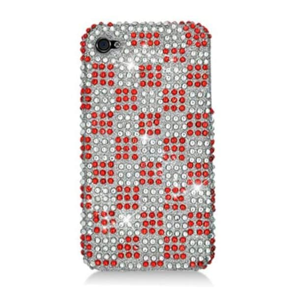 Insten Red/ White Checker Hard Snap-on Diamond Bling Case Cover For Apple iPhone 4/ 4S