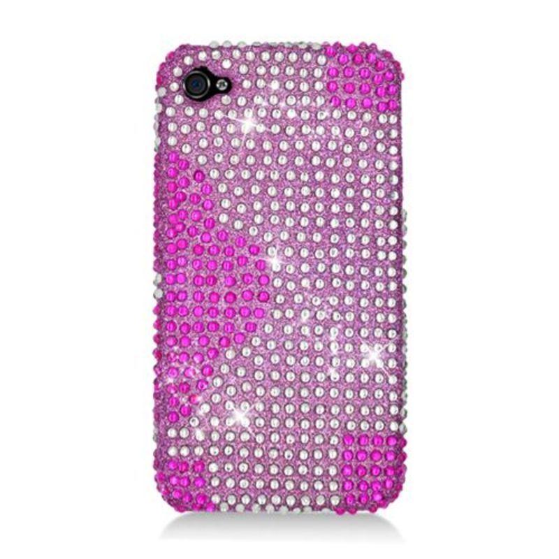 Insten Hot Pink Flowers Hard Snap-on Diamond Bling Case C...