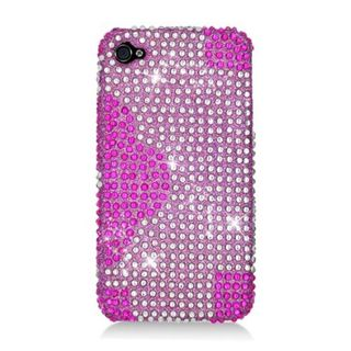 Insten Hot Pink Flowers Hard Snap-on Diamond Bling Case Cover For Apple iPhone 4/ 4S