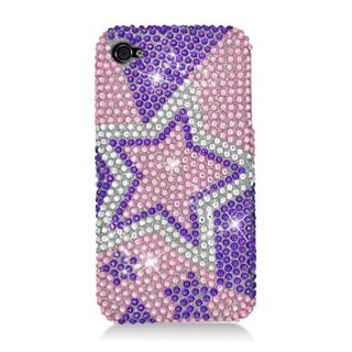 Insten Purple/ Pink Stars Hard Snap-on Diamond Bling Case Cover For Apple iPhone 4/ 4S