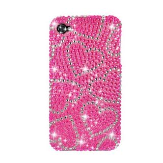 Insten Hot Pink Hearts Hard Snap-on Rhinestone Bling Case Cover For Apple iPhone 4/ 4S
