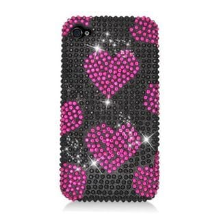 Insten Hot Pink/ Black Hearts Hard Snap-on Diamond Bling Case Cover For Apple iPhone 4/ 4S