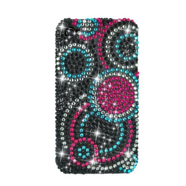 Insten Black/ Pink Circles Hard Snap-on Rhinestone Bling Case Cover For Apple iPhone 4/ 4S