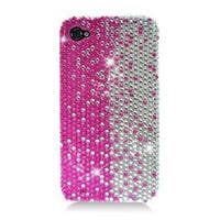 Insten Hot Pink/ Silver Hard Snap-on Diamond Bling Case Cover For Apple iPhone 4/ 4S