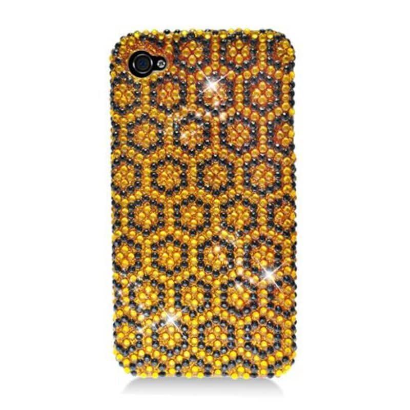 Insten Yellow/ Black Hexagon Hard Snap-on Diamond Bling C...
