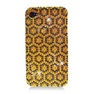 Insten Yellow/ Black Hexagon Hard Snap-on Diamond Bling Case Cover For Apple iPhone 4/ 4S