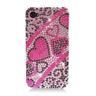 Insten Hot Pink Hearts Hard Snap-on Diamond Bling Case Cover For Apple iPhone 4/ 4S