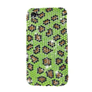 Insten Yellow/ Black Leopard Hard Snap-on Diamond Bling Case Cover For Apple iPhone 4/ 4S