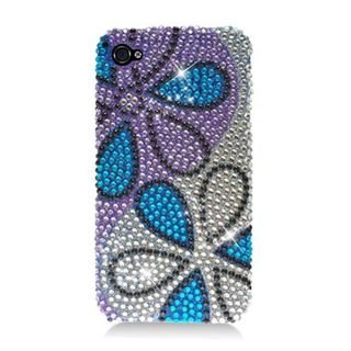 Insten Purple/ Blue Flowers Hard Snap-on Rhinestone Bling Case Cover For Apple iPhone 4/ 4S
