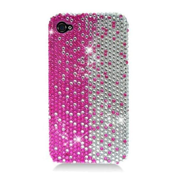 Insten Hot Pink/ Silver Hard Snap-on Rhinestone Bling Case Cover For Apple iPhone 4/ 4S