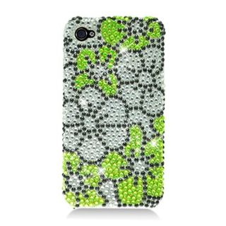 Insten Green/ Silver Flowers Hard Snap-on Diamond Bling Case Cover For Apple iPhone 4/ 4S