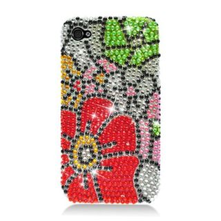 Insten Red/ Green Flowers Hard Snap-on Rhinestone Bling Case Cover For Apple iPhone 4/ 4S