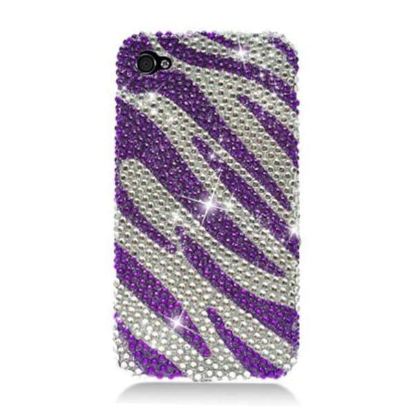 Insten Purple/ Silver Zebra Hard Snap-on Rhinestone Bling Case Cover For Apple iPhone 4/ 4S