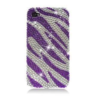 Insten Purple/ Silver Zebra Hard Snap-on Rhinestone Bling Case Cover For Apple iPhone 4/ 4S