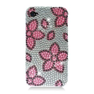 Insten Pink/ Silver Flowers Hard Snap-on Diamond Bling Case Cover For Apple iPhone 4/ 4S