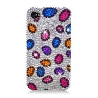 Insten Silver/ Colorful Leopard Hard Snap-on Rhinestone Bling Case Cover For Apple iPhone 4/ 4S