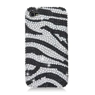 Insten Black/ Silver Zebra Hard Snap-on Diamond Bling Case Cover For Apple iPhone 4/ 4S