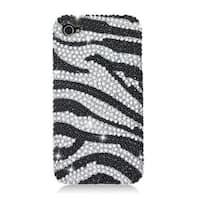 Insten Black/ Silver Zebra Hard Snap-on Diamond Bling Case Cover For Apple iPhone 4/ 4S