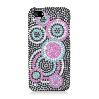 Insten Black/ Pink Circles Hard Snap-on Diamond Bling Case Cover For Apple iPhone 5/ 5S
