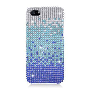 Insten Blue/ Silver Waterfall Hard Snap-on Rhinestone Bling Case Cover For Apple iPhone 5/ 5S