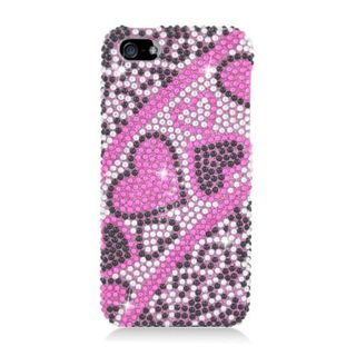 Insten Hot Pink Hearts Hard Snap-on Rhinestone Bling Case Cover For Apple iPhone 5/ 5S