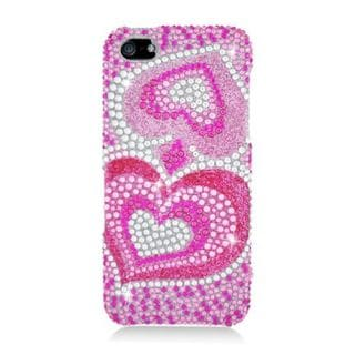 Insten Hot Pink Hearts Hard Snap-on Diamond Bling Case Cover For Apple iPhone 5/ 5S