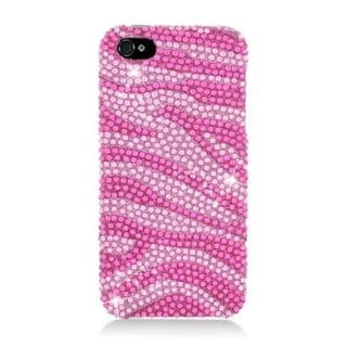 Insten Hot Pink/ Pink Zebra Hard Snap-on Rhinestone Bling Case Cover For Apple iPhone 5/ 5S