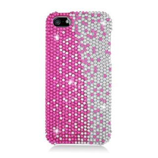 Insten Hot Pink/ Silver Hard Snap-on Rhinestone Bling Case Cover For Apple iPhone 5/ 5S