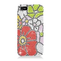 Insten Red/ Green Flowers Hard Snap-on Diamond Bling Case Cover For Apple iPhone 5/ 5S