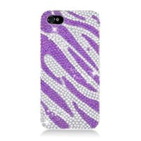 Insten Purple/ Silver Zebra Hard Snap-on Rhinestone Bling Case Cover For Apple iPhone 5/ 5S