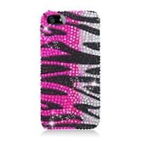 Insten Hot Pink/ Black Zebra Hard Snap-on Rhinestone Bling Case Cover For Apple iPhone 5/ 5S