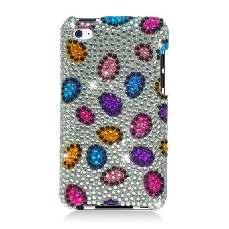 Insten Silver/ Colorful Leopard Hard Snap-on Diamond Blin...