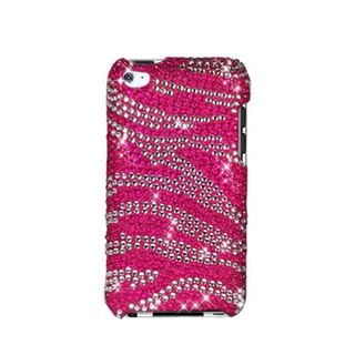 Insten Hot Pink/ Pink Zebra Hard Snap-on Diamond Bling Case Cover For Apple iPod Touch 4th Gen