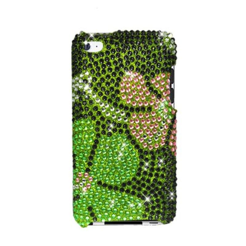 Insten Green Flowers Hard Snap-on Rhinestone Bling Case C...