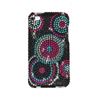 Insten Black/ Pink Circles Hard Snap-on Rhinestone Bling Case Cover For Apple iPod Touch 4th Gen