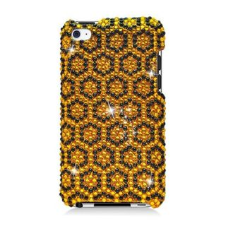 Insten Yellow/ Black Hexagon Hard Snap-on Rhinestone Bling Case Cover For Apple iPod Touch 4th Gen