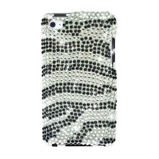 Insten Black/ Silver Zebra Hard Snap-on Diamond Bling Case Cover For Apple iPod Touch 4th Gen