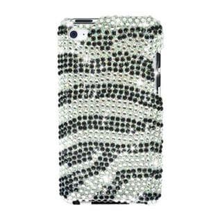 Insten Black/ Silver Zebra Hard Snap-on Diamond Bling Case Cover For Apple iPod Touch 4th Gen