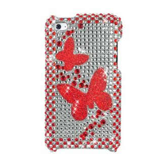 Insten Red Butterfly Hard Snap-on Rhinestone Bling Case Cover For Apple iPod Touch 4th Gen