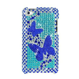 Insten Blue Butterfly Hard Snap-on Diamond Bling Case Cover For Apple iPod Touch 4th Gen