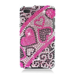 Insten Hot Pink Hearts Hard Snap-on Diamond Bling Case Cover For Apple iPod Touch 4th Gen