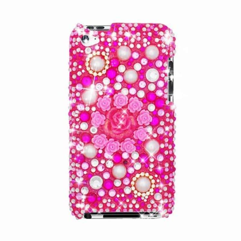 Insten Pink/ White 3D Flowers Hard Snap-on Rhinestone Bli...