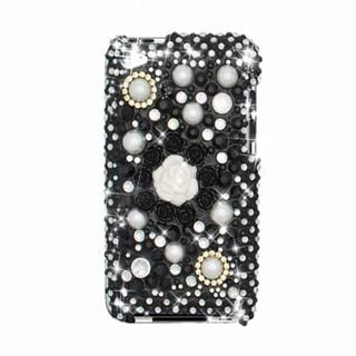Insten Black/ White 3D Flowers Hard Snap-on Rhinestone Bling Case Cover For Apple iPod Touch 4th Gen